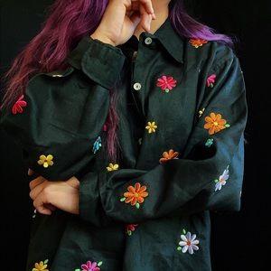 Vintage linen groovy shirt 🌈